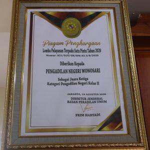 Juara III Lomba PTSP Tahun 2020 Kategori Pengadilan Negeri Kelas II - Dirjen Badan Peradilan Umum